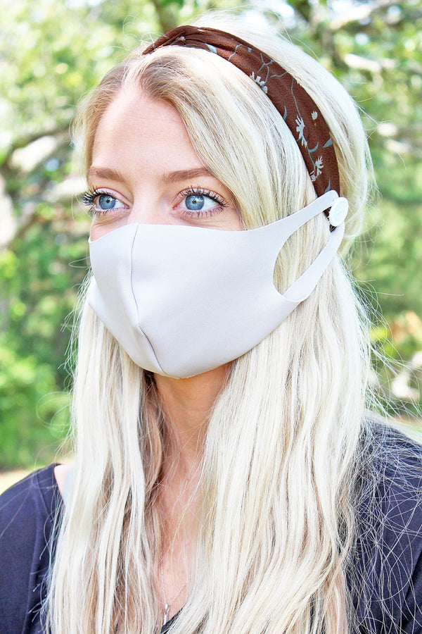 Floral Delight Brown Button Headband Face Mask Holder