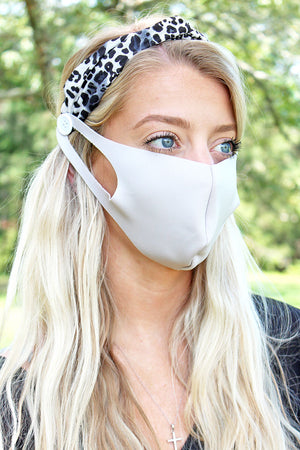 Feeling Fierce Gray Leopard Button Headband Face Mask Holder
