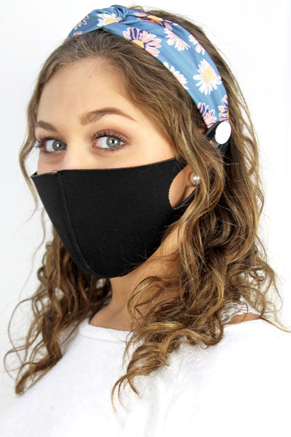 Here For You Blue Button Headband Face Mask Holder