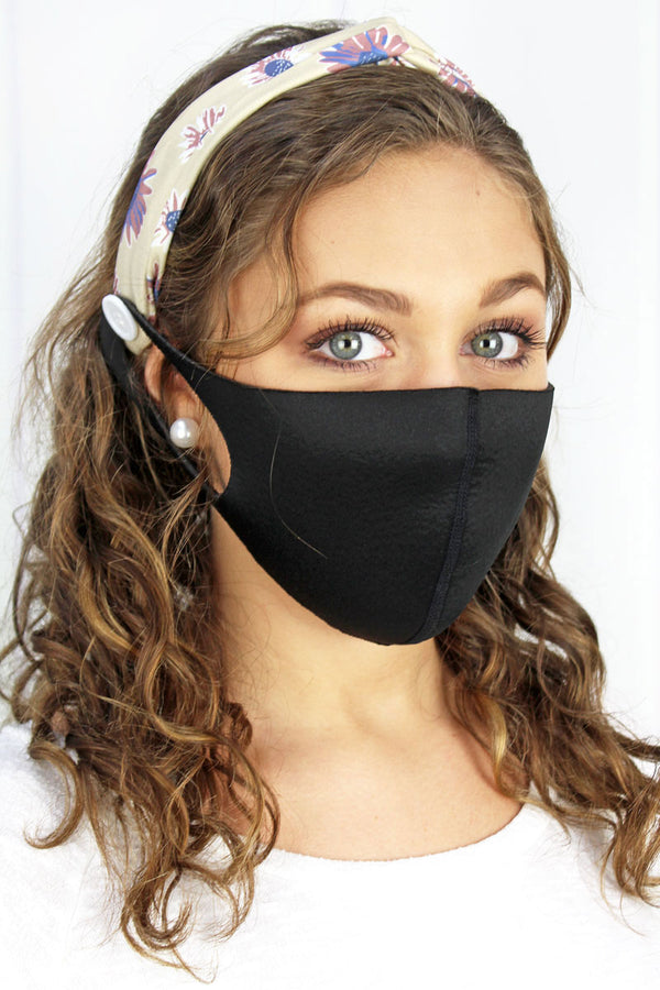 Here For You Beige Button Headband Face Mask Holder