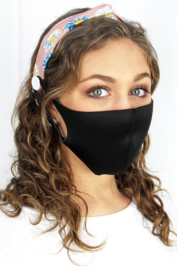 Here For You Peach Button Headband Face Mask Holder