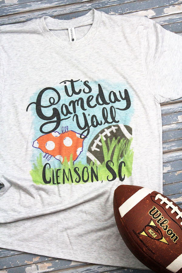 Gameday Y'all Clemson Tri-Blend Crew Tee