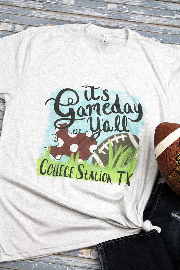 Gameday Y'all College State Tri-Blend Crew Tee
