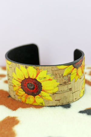 Sunflower Cork Cuff Bracelet