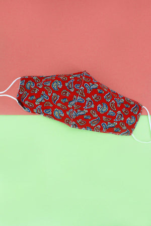 Classic Paisley Red Two-Layer Fashion Face Mask