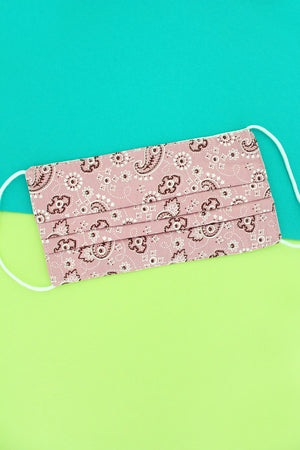 Playful Paisley Pink Two-Layer Pleated Fashion Face Mask