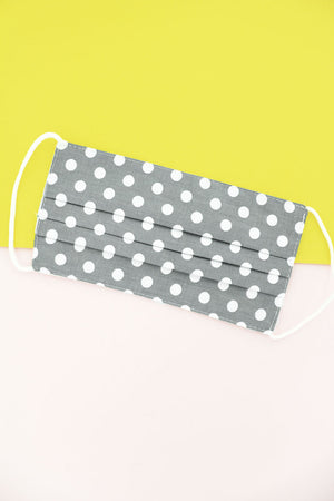 Perfect Polka Dot Gray Two-Layer Pleated Fashion Face Mask