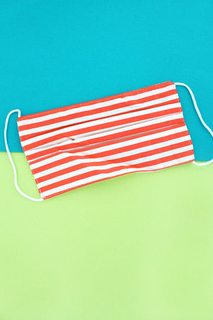 Red Cabana Stripe Two-Layer Pleated Fashion Face Mask