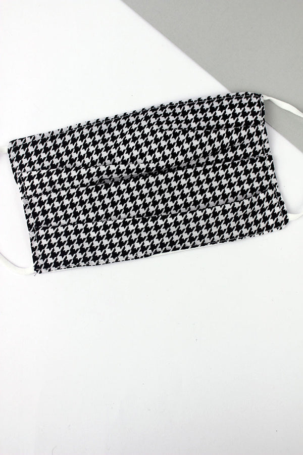 Houndstooth Two-Layer Pleated Fashion Face Mask