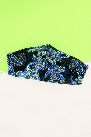 Paisley Dreams Blue Two-Layer Fashion Face Mask with Filter Pocket