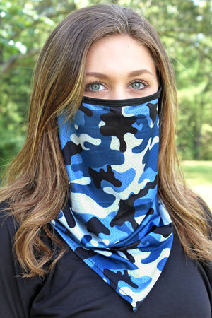 Blue Camo Face Mask Neck Gaiter