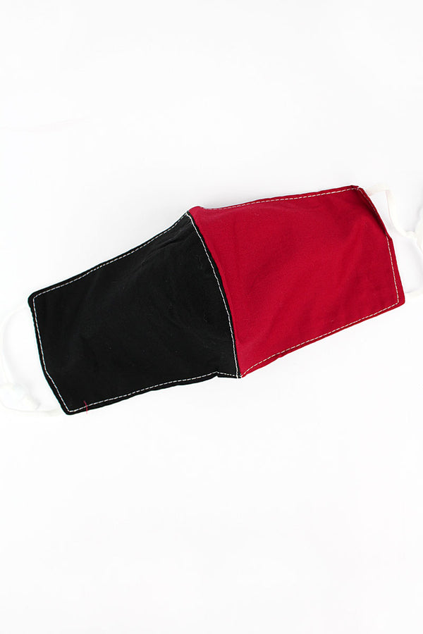 Black and Red Colorblock Two-Layer Fashion Face Mask with Filter Pocket