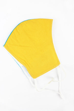 Blue and Gold Colorblock Two-Layer Fashion Face Mask with Filter Pocket