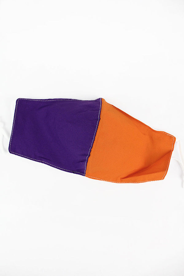 Purple and Orange Colorblock Two-Layer Fashion Face Mask with Filter Pocket