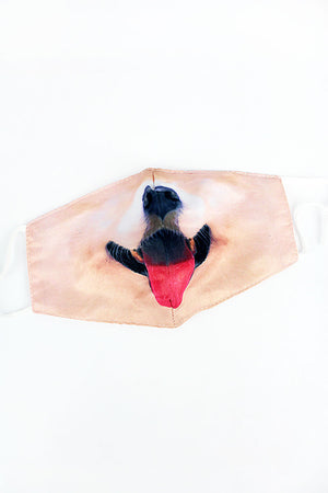 Dog Smile Two-Layer Fashion Face Mask with Filter Pocket