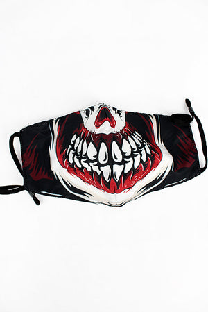 Evil Clown Smile Two-Layer Fashion Face Mask with Filter Pocket