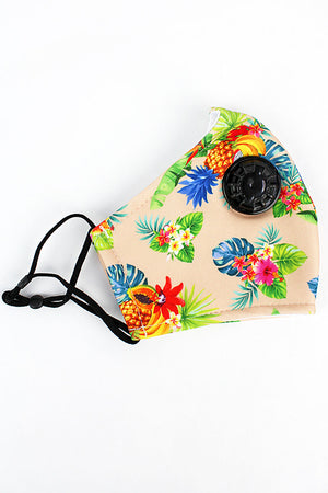 Aloha Hawaii Two-Layer Fashion Face Mask with Breathing Valve and Filter Pocket