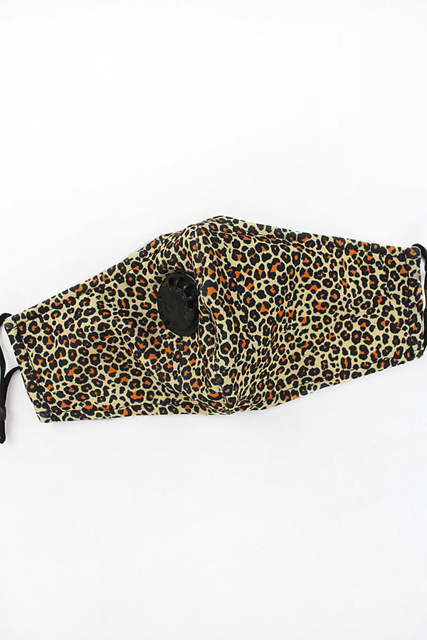 Wild Life Leopard Two-Layer Fashion Face Mask with Breathing Valve and Filter Pocket