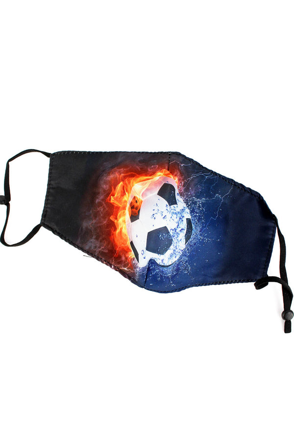 Kid's Fire & Ice Soccer Fashion Face Mask with Quilted Filter Pocket