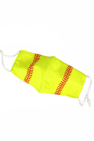 Kid's Softball Fashion Face Mask with Quilted Filter Pocket