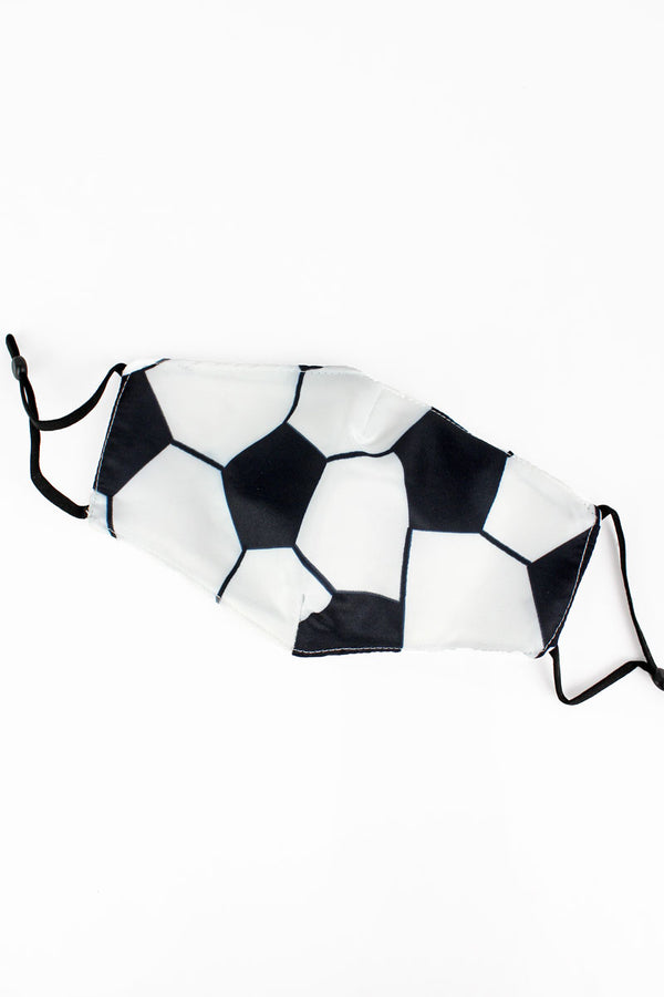 Kid's Soccer Fashion Face Mask with Quilted Filter Pocket