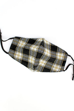 Fall Weekends Black and Gold Plaid Two-Layer Fashion Face Mask with Filter Pocket