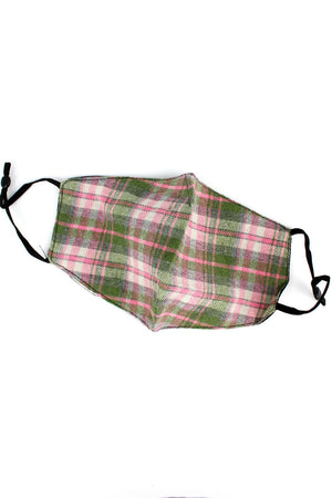 Stay Safe Pink Plaid Two-Layer Fashion Face Mask with Filter Pocket