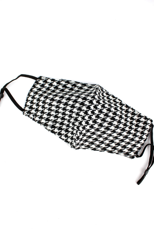 Houndstooth Two-Layer Fashion Face Mask with Filter Pocket