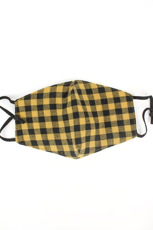 Yellow and Black Gingham Fashion Face Mask with Quilted Filter Pocket