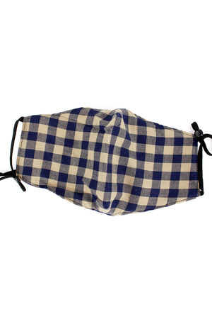 Blue and Tan Gingham Fashion Face Mask with Quilted Filter Pocket