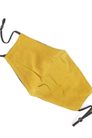 Mustard Brushed Fashion Face Mask with Quilted Filter Pocket
