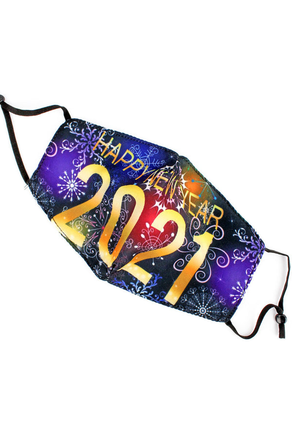 Winter Magic Happy New Year 2021 Fashion Face Mask with Quilted Filter Pocket