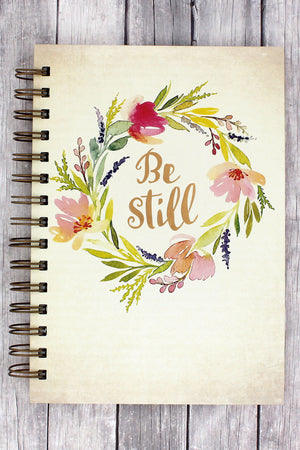 Be Still Floral Watercolor Large Wirebound Journal #JLW038