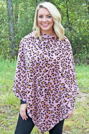 The Sassy Cat Faux Fur Poncho, Pink