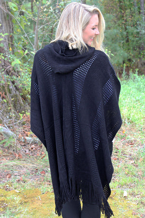 Changing Seasons Hooded Shawl, Black