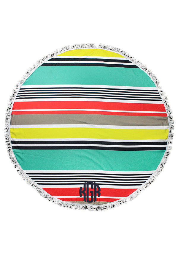 Splashy Stripes Round Beach Towel