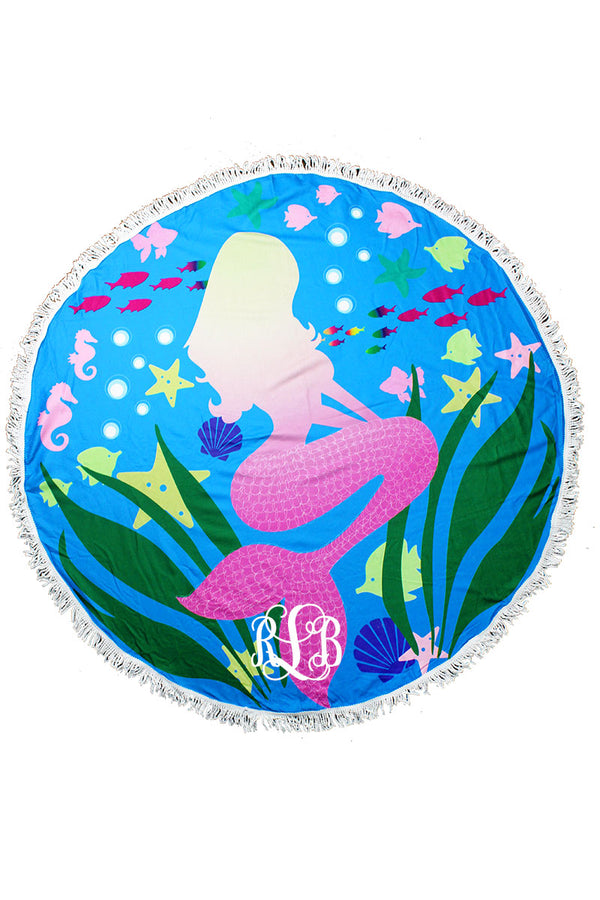 Blue Ocean with Mermaid Round Beach Towel
