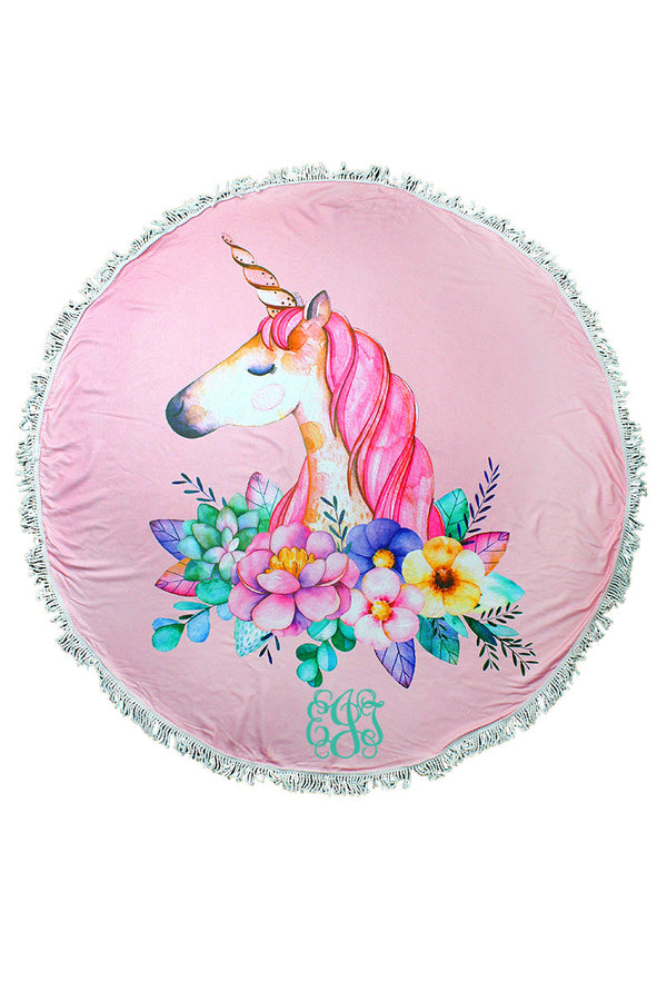 Pretty Pink Floral Unicorn Round Beach Towel