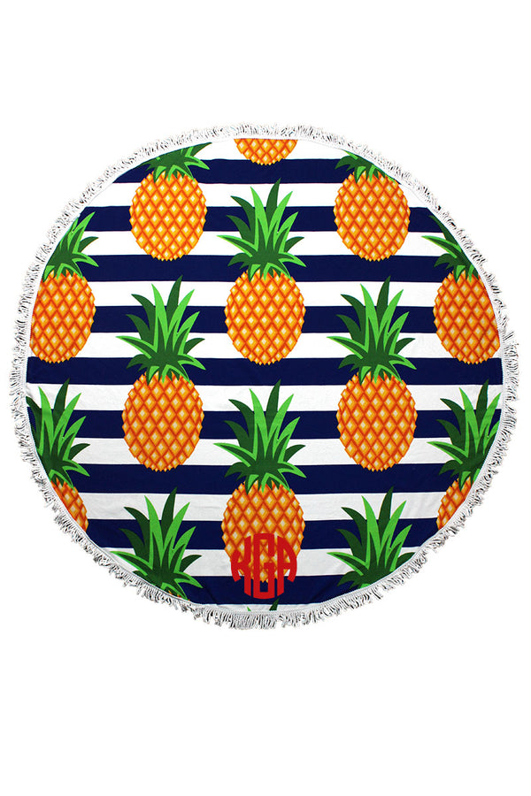 Pineapple Royal Stripe Round Beach Towel