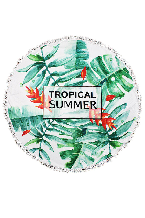 Tropical Summer Round Beach Towel