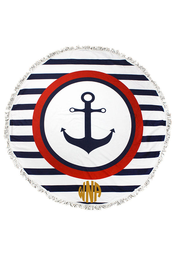 Nautical Stripes Anchor Round Beach Towel