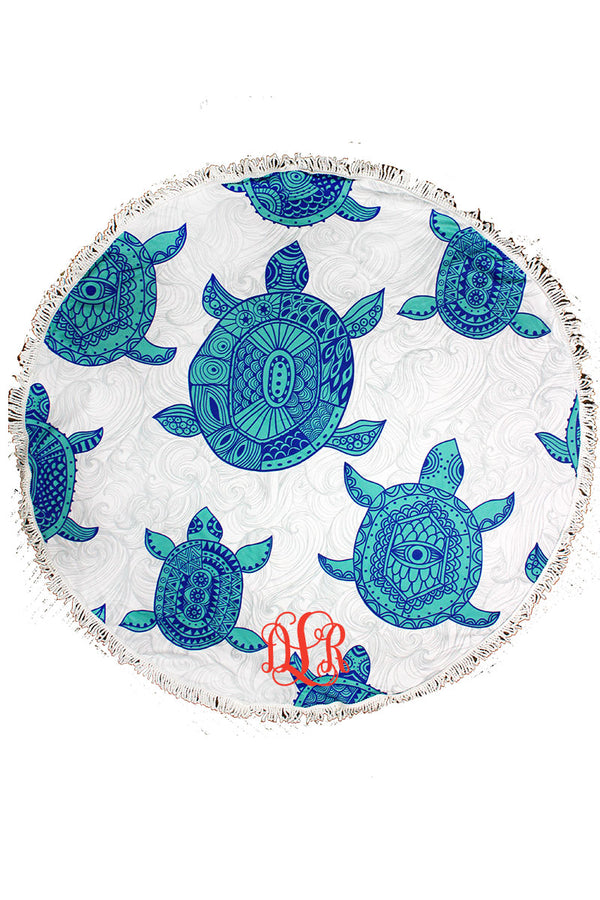 Mandala Turtle Round Beach Towel