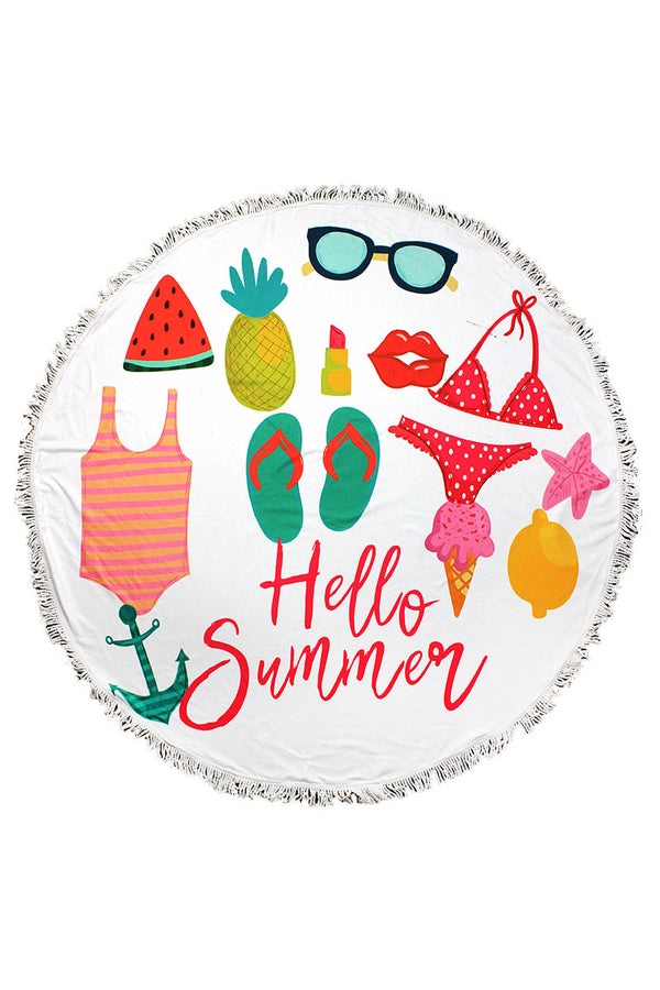 Hello Summer Round Beach Towel