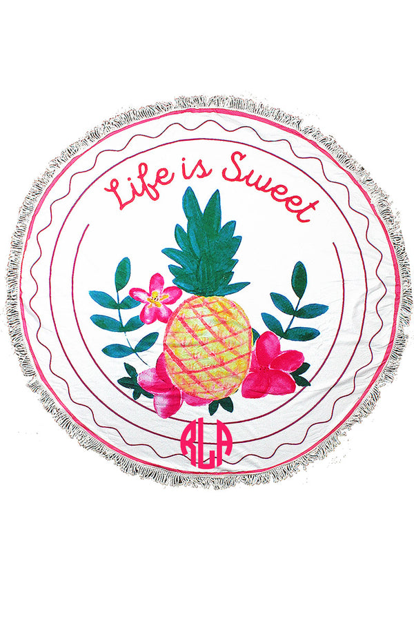 Life Is Sweet Round Beach Towel