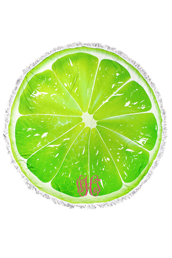 Lime Slice Round Beach Towel
