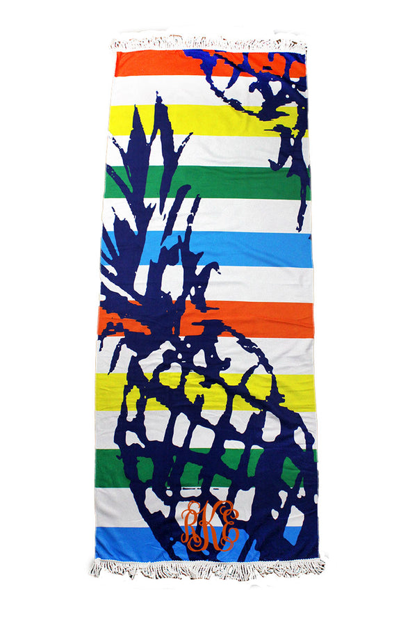 Pineapple Sketch Striped Beach Towel