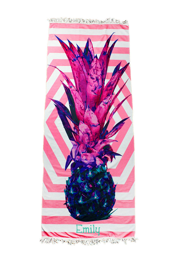 Pineapple Geo Beach Towel