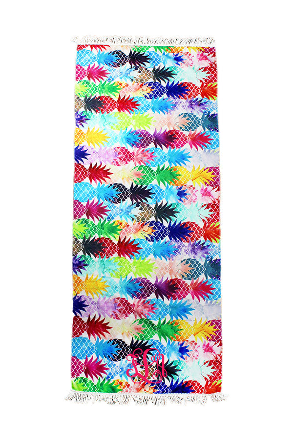 Rainbow Pineapple Beach Towel