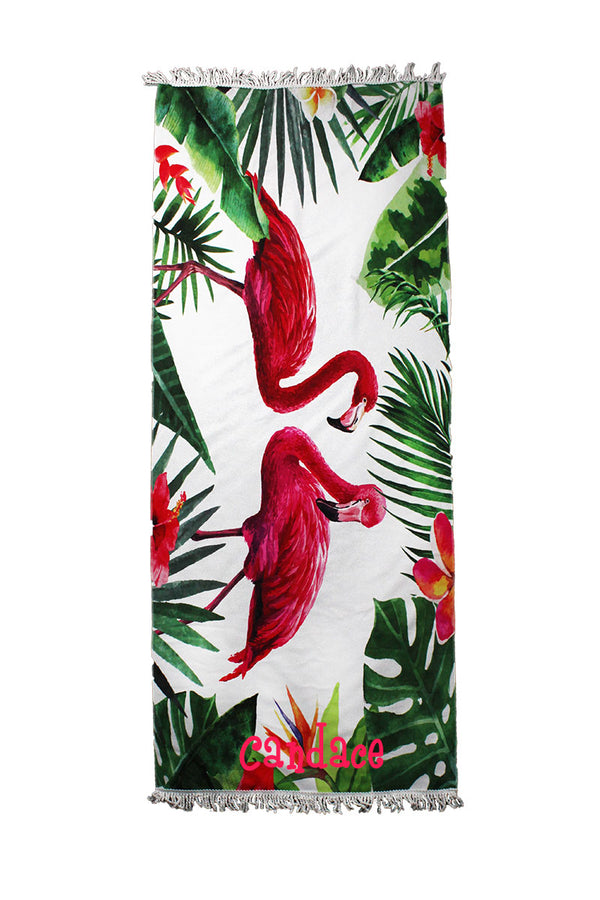 Tropical Flamingo Pair Beach Towel