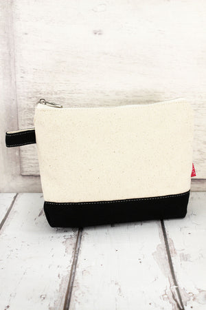 Canvas Cosmetic Bag with Black Trim